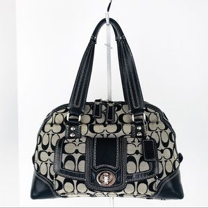 Coach Hamptons Signature Jacquard Domed Satchel